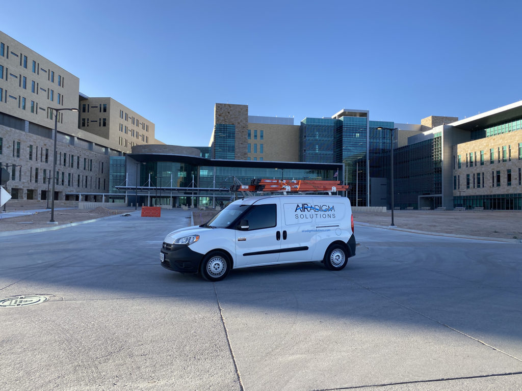 Testing and Balancing Van outside of Hospital HVAC project